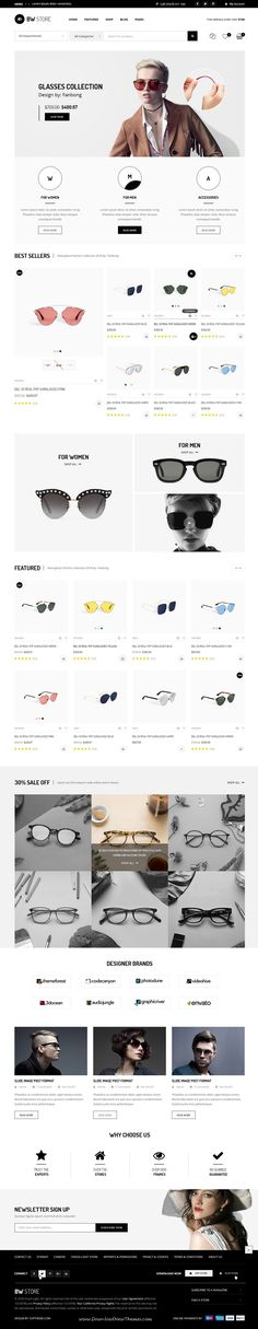 BW Store is clean and modern design PSD #template for stunning #glasses store #eCommerce website with 16 layered PSD pages to live preview & download click on Visit