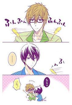 Like a cat ...  Free! - Iwatobi Swim Club, haruka nanase, haru nanase, haru, nanase, haruka, makoto tachibana, makoto, tachibana, free!, iwatobi, neko
