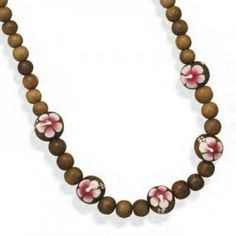 Necklace With Painted Flower Beads