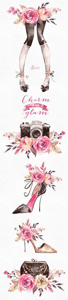 This is an glamourous floral and fashion collection includes bouquets, floral arrangements with camera, handbag, shoes, lady legs and more. Perfect graphic for photographer logo, fashion projects, brand identity, invitations, cards, photos, posters, wallarts, quotes, diy and more.  -----------------------------------------------------------------  INSTANT DOWNLOAD Once payment is cleared, you can download your files directly from your Etsy account…