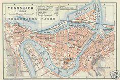 NORWAY 1909: TRONDHJEM. Trondheim. Interesting old antique city map plan.