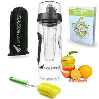 Premium Fruit Infuser Water Bottle Complete Bundle - 32 Oz - Leak Proof - BPA Free - Made with Commercial Grade Eastman Tritan Plastic - Highly Durable Large Travel Tumbler - Create Your Own Healthy Fruit Flavored Water Recipes with FREE eBook Included @ mynutritionalhealth.info