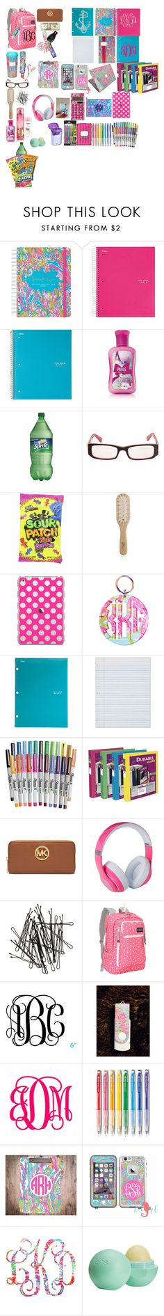 """""""back to school preppy school supplies for teens"""" by turnerjazmyne on Polyvore featuring Lilly Pulitzer, Philip Kingsley, Casetify, OPTIONS, Sharpie, Avery, Michael Kors, Beats by Dr. Dre, H&M and JanSport - big leather bags, ladies shoulder bags, crossbody clutch bags *ad"""
