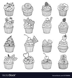 set of cupcakes Hand drawn vector illustrations isolate on white Hand drawn cupcake doodle sweet cake collection Doodle set of cupcakes Hand drawn vector illustrations is. Cupcake Illustration, Cupcake Drawing, Cupcake Art, Cupcake Vector, Hand Doodles, Simple Doodles, Hand Drawn Cards, Doodle Art Drawing, Kawaii Doodles
