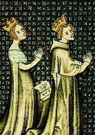 Aliénor d'Aquitaine et Louis VII priant pour avoir un fils.  Books 2-3 www.eleanorofaquitaine.net