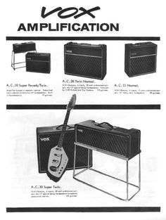 """Vox Amps advertisement for the AC10, AC15 and AC30 from 1963  Click on the image below to enlarge. [gallery size=""""full"""" columns=""""2″ ids=""""766″]"""