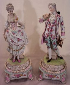 Vintage Pair of Dresden Porcelain Figurines Bolted