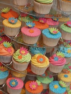 bright coloured wedding cupcakes