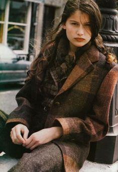 """Federica Modell: Laetitia Casta"" Source by olgaalexbabiche Laetitia Casta, Estilo Preppy, Looks Chic, Mode Outfits, Trendy Outfits, Tartan Plaid, Plaid Coat, Plaid Blazer, Tweed Coat"