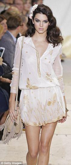 Runway star: Kendall can be seen walking at the Diane von Furstenberg show…