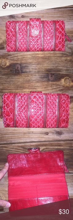 Jessica Simpson red card wallet Red Jessica Simpson wallet. Small signs of wear as noted in pictures 3 and 4. Please ask questions! I'm open to offers and bundles :) Jessica Simpson Bags Wallets