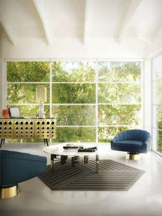 Marine-Blau Inspirationen für den Frühling |  Blau ung golden Möbel von Essential Home | Golden Konsole | Blau samt sessel | wohn-designtrend.de/