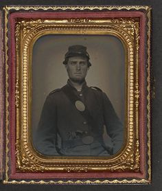 [Unidentified soldier in Union uniform with U.S. breast plate with revolver and bayonet in scabbard] (LOC) by The Library of Congress, via Flickr