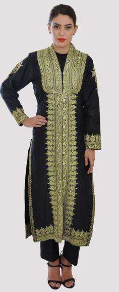Black Tilla Zari Embroidered Pure Raw Silk Jacket