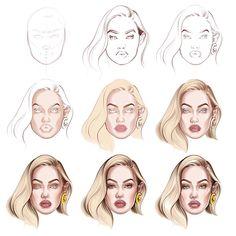 Digital Painting Tutorials, Digital Art Tutorial, Art Tutorials, Fashion Illustration Face, Music Illustration, Digital Drawing, Fashion Figure Drawing, Arte Fashion, Illustration Techniques