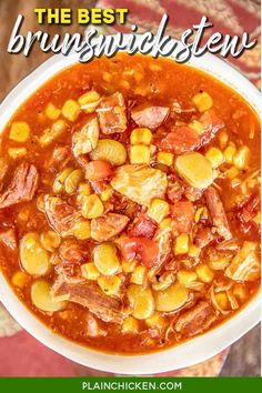 The BEST Brunswick Stew recipe EVER! Super easy to make and tastes great! Chicken, smoked sausage, pulled pork, onion, corn, tomatoes, and lima beans simmered in chicken broth, tomato sauce, vinegar, ketchup, brown sugar, and hot sauce. Can make on the stovetop or in the crockpot. Makes a ton, so it is great for a crowd. Serve with some cornbread or biscuits! We ate this three days in a row - SO good! #soup #stew #chicken #pulledpork #freezermeal #glutenfree #potluck Sausage Crockpot Recipes, Smoked Sausage Recipes, Casserole Recipes, Soup Recipes, Coffee Recipes, Copycat Recipes, Beef Recipes, Slow Cooker Steak, Slow Cooker Soup