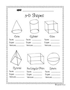 This file is a 1 page worksheet to review how many faces, edges, and vertices there are in these 3-D shapes. Shapes included are a cone, cube, cyli...