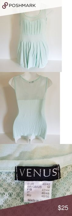 Venus mint green mesh tank top Medium Venus mint green tank top with pretty pleats down the front of shirt. Sweetheart neckline with a crochet mesh detail. Excellent used condition! No flaws. 95% viscose, 5% polyester. Machine washable. VENUS Tops Tank Tops