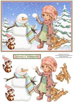 Winter girl friends snowman scene decoupage on Craftsuprint - Add To Basket!