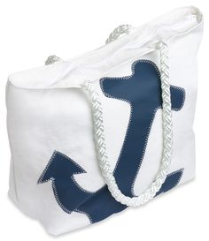 Water-resistant beach bag handcrafted from recycled sails that have traveled the waterways of the world. (http://www.thenewenglandtradingcompany.com/recycled-sail-bag-tote-medium-navy-anchor-zipper-top/)