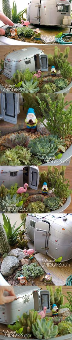 Airstream Trailer Miniature Fairy Succulent Garden | Lush Little Landscapes
