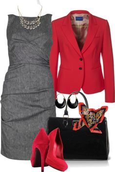 """Gray and Red Work Wear"" by tajarl ❤ liked on Polyvore"
