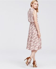 Embrace Summer S Free Spirited Mood In Ann Taylor Paisley Chiffon Tie Neck Midi Dress