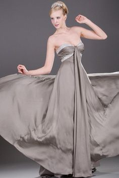 Elegant & Luxurious Empire Beading Pear Inverted Triangle Summer Spring Ruched Evening Dress
