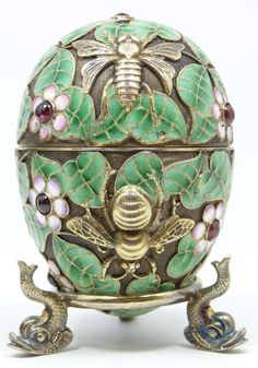Imperial Russian SILVER and Emamel Egg.......ovchinnikov