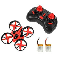 NIHUI Mini Quadcopter Drone RTF Helicopter UFO Drone with GYRO 2.4G 4CH 6 Axis AR Drone Flying RC Copter Toy Headless Nano Quadcopter LED Lights Remote Control with Wind Propeller - Red (2 Battery)