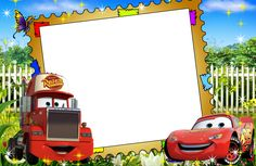 Cars Birthday Invitations, Free Printable Birthday Invitations, Birthday Tarpaulin Design, Disney Cars Party, Car Themes, Frame Clipart, Jesus Pictures, Lightning Mcqueen, Handmade Birthday Cards