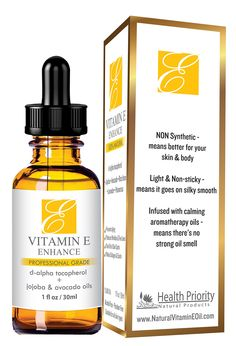 Amazon.com: 100% Natural & Organic Vitamin E Oil For Your Face & Skin - Reduces Wrinkles & Lightens Dark Spots Which Leaves Your Skin More Youthful. Not-Too-Thick Oil, Infused With Jojoba & Avocado Oils, Makes Your Skin Soft & NON Sticky. Makes Collagen and Elastin. Best Selling Vitamin E Oil Is Better Than Capsules! Finally Get The Results You've Been Looking For! 100% Satisfaction GUARANTEED!: Beauty