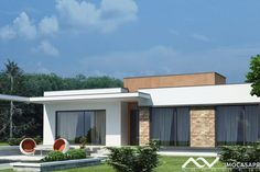 Mainz Moradia T3 59000€ casas modulares Flat Roof House, Facade House, House Front, My House, Modern House Facades, Modern Bungalow House, Modern House Plans, Amazing Architecture, Architecture Design