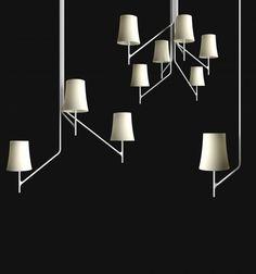 birdie,foscarini,lampadario,bianco,mobili,bracci,sospensione,elemento,design