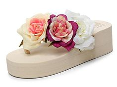 WeiYin Womens Flowers Wedges Flip Flops Beige US 5Asian 36 -- Continue to the product at the image link.(This is an Amazon affiliate link)