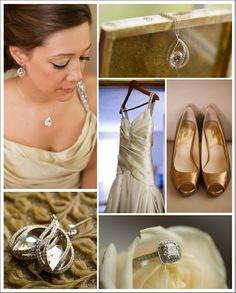 Gold wedding accessories and shoes Follow Bride's Book for more great inspiration.