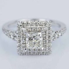 A beautiful Princess Square Double Halo Diamond Engagement Ring in White Gold!