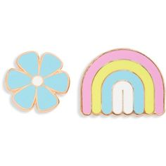 Big Bud Press 'Mod' Rainbow & Daisy Pin Set ($6.98) ❤ liked on Polyvore featuring jewelry, brooches, pin jewelry, blue jewelry, rainbow jewelry, mod jewelry and daisy jewelry