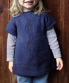 Free Knitting Pattern for River Dress - Short-sleeved pullover dress or tunic for a child with a unique wave stitch pattern. Sizes 2-3 years. Available in English, French and Italian. Designed by Nadia Crétin-Léchenne. Pictured project by ittybitty