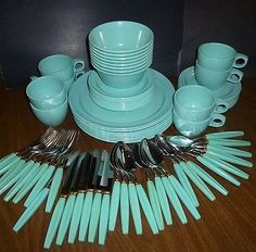 Watertown-Monterey-Melmac-Dishes-Blue-Set-plus-Silverware-73-Pc