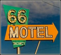 Vintage neon signs. 66 Motel. Americana. Route 66.