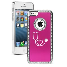 For Apple iPhone 4 4s 5 5s 5c 6 6s Plus Rhinestone Crystal Bling Hard Case Cover Heart Stethoscope Nurse Doctor - Black Blue Pink Purple by Daylors on Etsy https://www.etsy.com/listing/212166952/for-apple-iphone-4-4s-5-5s-5c-6-6s-plus
