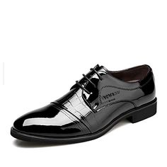 f1147aa497e851 YangXieJiang Lace Up Patent Leather Oxford Dress Shoes Formal Wedding Shoes  8015 Black 9.5 D(