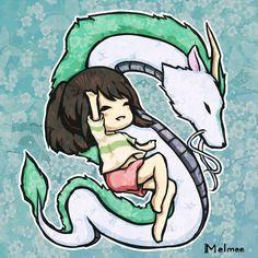 Chihiro y Haku (chibis)