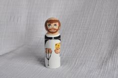 St Dominic of the Rosary Wooden Hand-painted by StMiriamandFriends