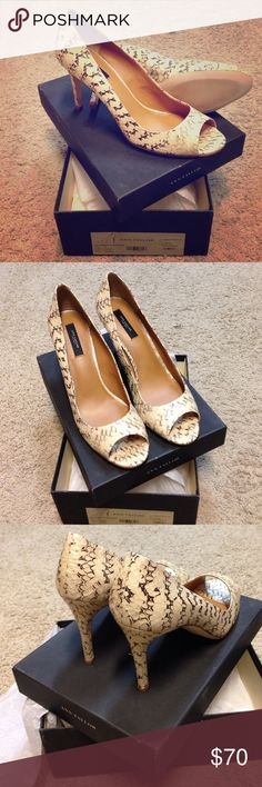 Ann Taylor Perfect Peeptoe size 11 - Natural Never worn, new with box, snake skin design Ann Taylor Shoes Heels
