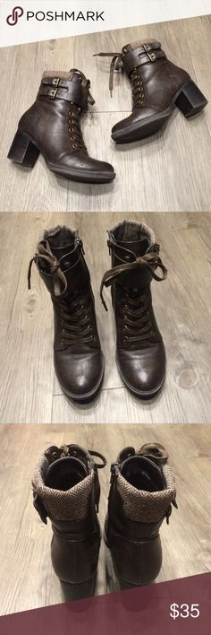 Dark brown booties 🍂 Gorgeous brown booties by Bass. Sad to part with these but I own way too many booties. Signs of wear but still have A TON of life in them. I always get compliments on these. Bass Shoes Ankle Boots & Booties