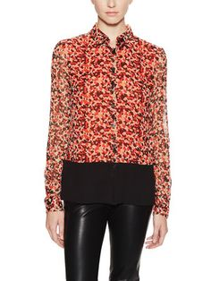 Graphic Chiffon Blouse with Contrast Hem