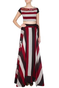 Red, black and white striped crop top with matching skirt by PALLAVI JAIPUR…