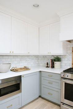 "grey colour on bottom cabinets is Benjamin Moore: "" Platinum Grey""; backsplash is ""Calcutta marble"" (yah, helpful...)....Emerson Project   Studio McGee"